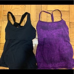 Lucy Strappy Workout Purple Black Tank Tops Small